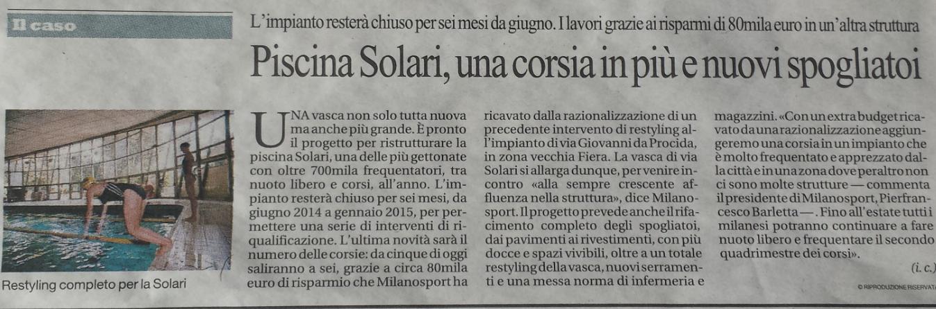 Milanosport gli impianti solari - Piscina cozzi orari ...